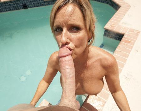 mature slut sucks on the pool man big cock